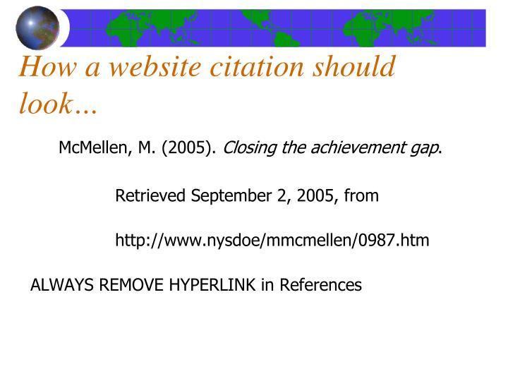 How a website citation should look…