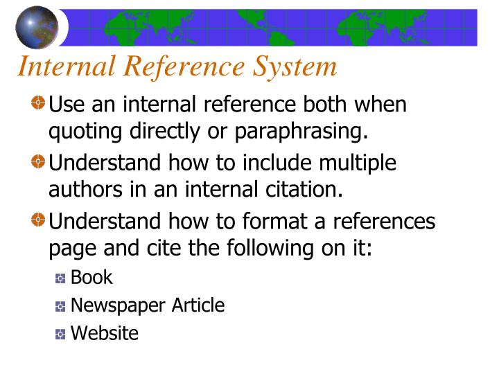 Internal Reference System