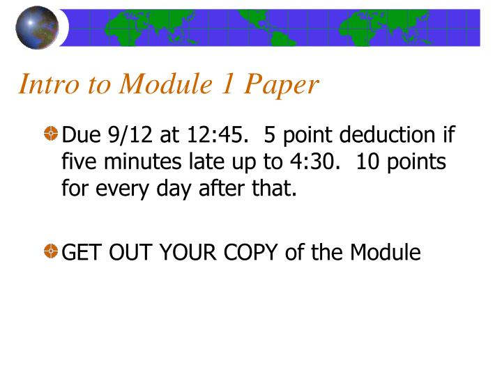 Intro to Module 1 Paper