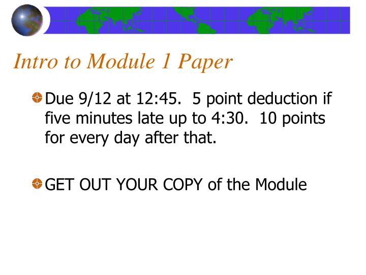 Intro to Module 1 Paper