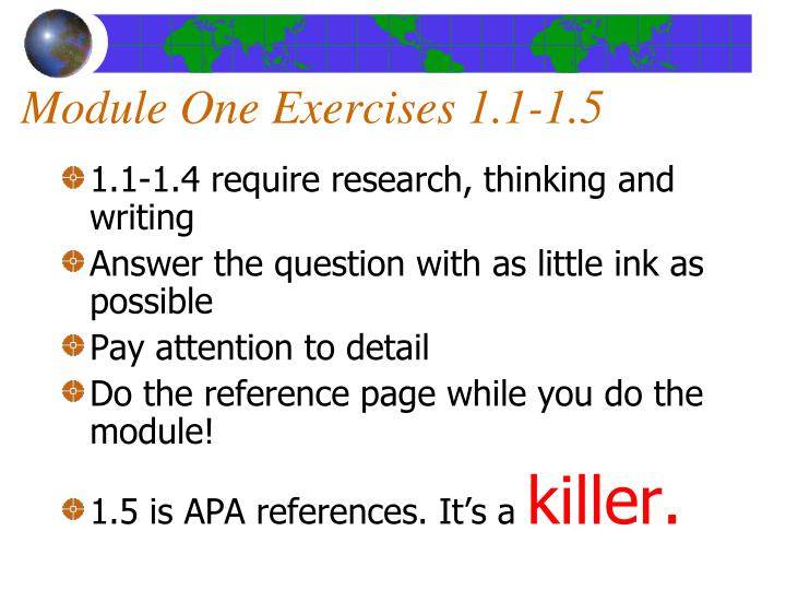 Module One Exercises 1.1-1.5