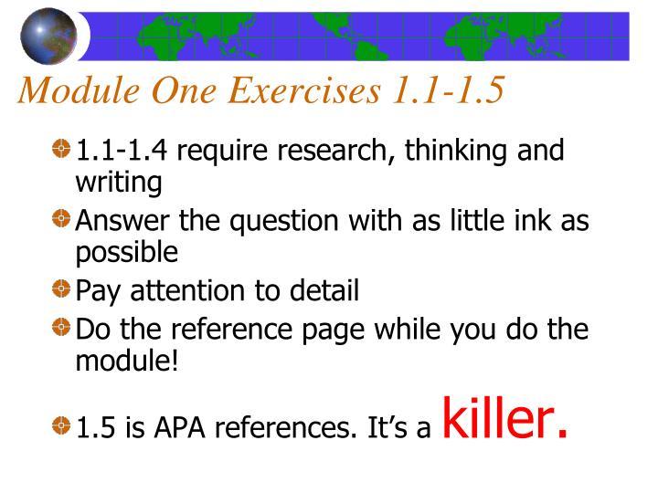 Module One Exercises 1.1-1.5