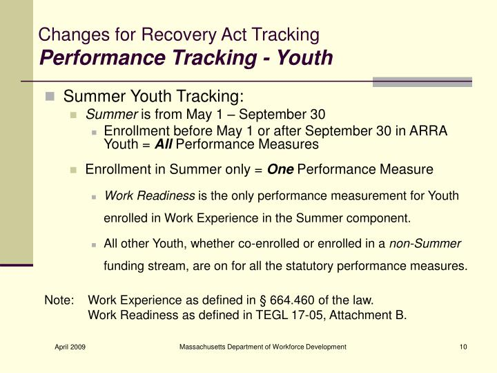 Changes for Recovery Act Tracking