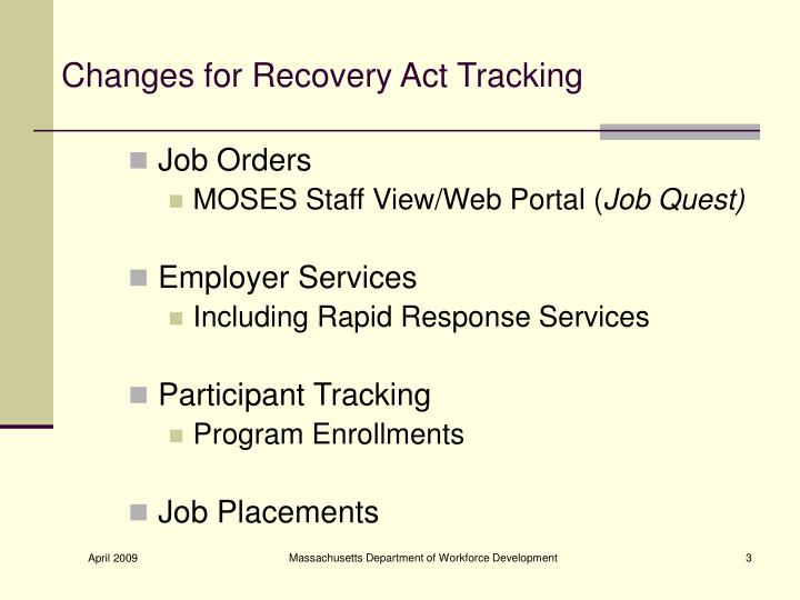 Changes for recovery act tracking1