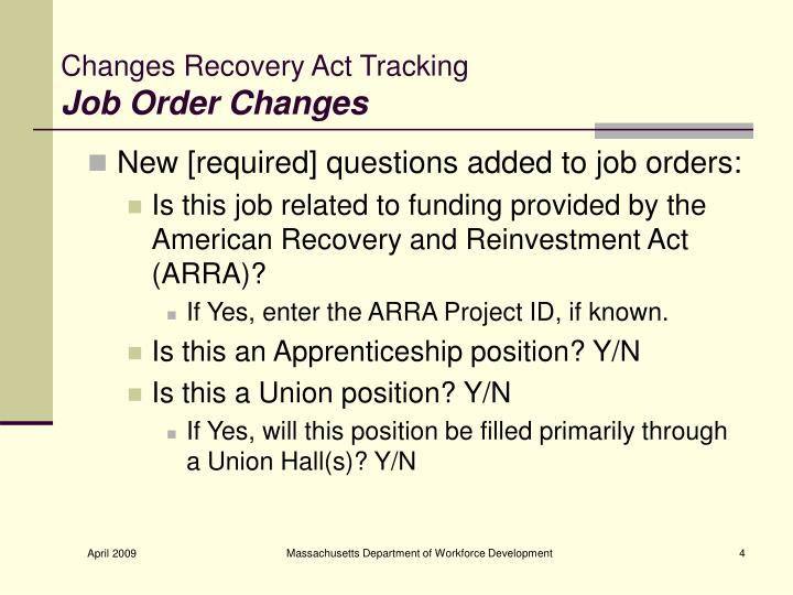 Changes Recovery Act Tracking