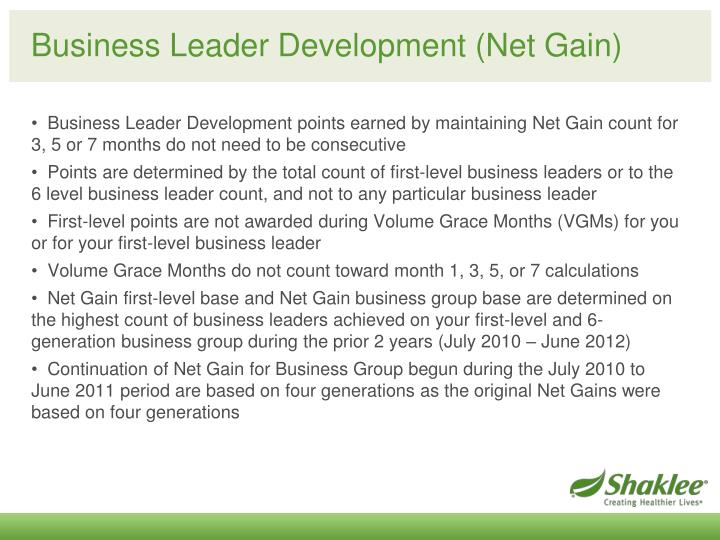 Business Leader Development (Net Gain)