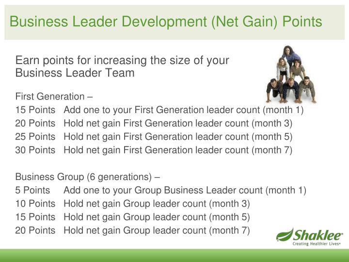 Business Leader Development (Net Gain) Points
