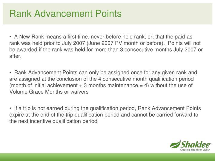 Rank Advancement Points