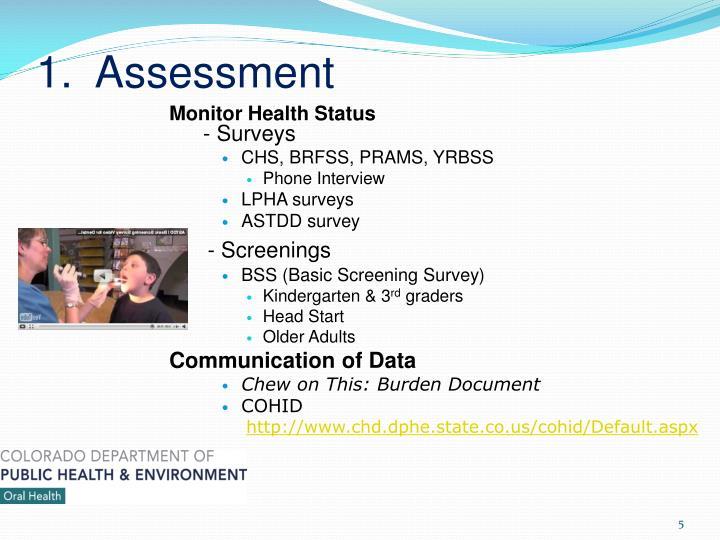 1.  Assessment