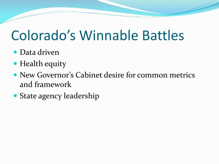 Colorado's Winnable Battles