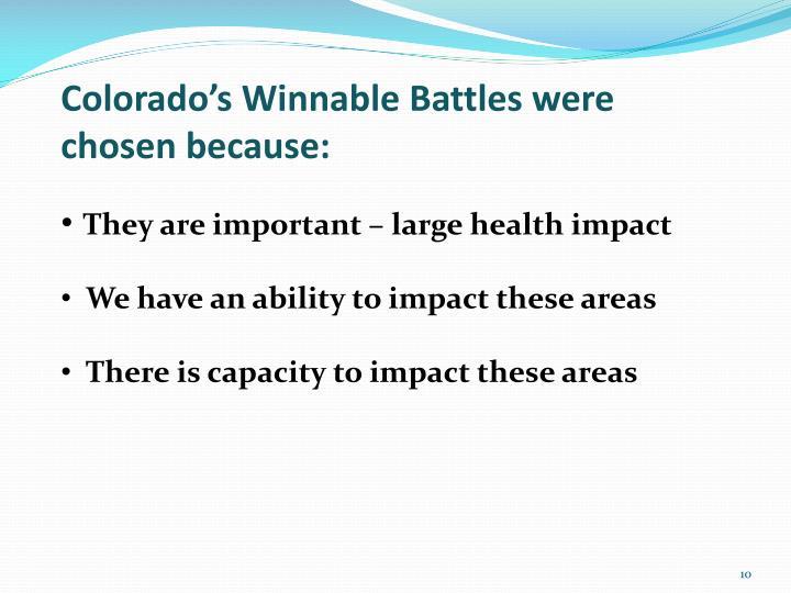 Colorado's Winnable Battles were