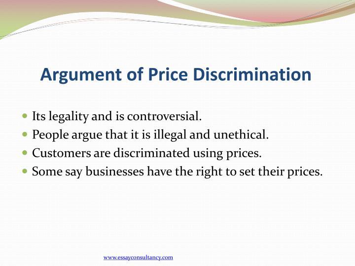 Argument of Price Discrimination