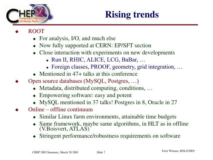 Rising trends