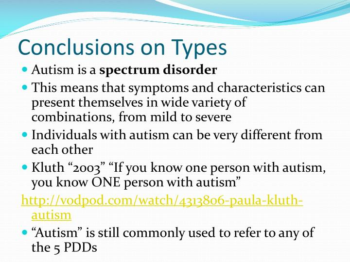 Conclusions on Types
