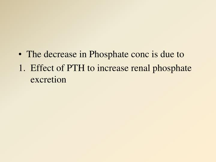 The decrease in Phosphate