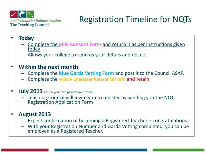 Registration Timeline for