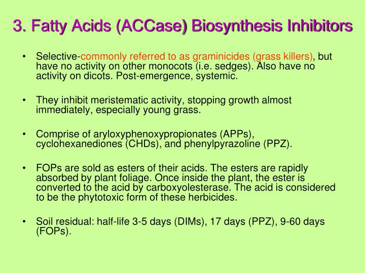 3. Fatty Acids (ACCase) Biosynthesis Inhibitors