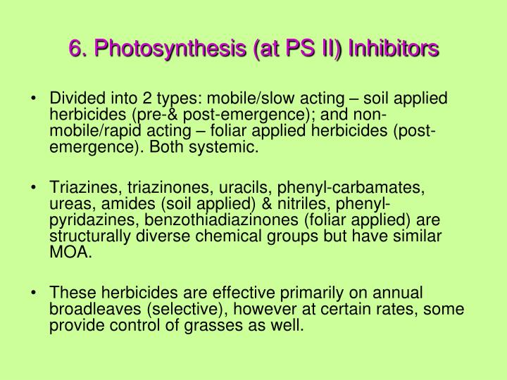 6. Photosynthesis (at PS II) Inhibitors