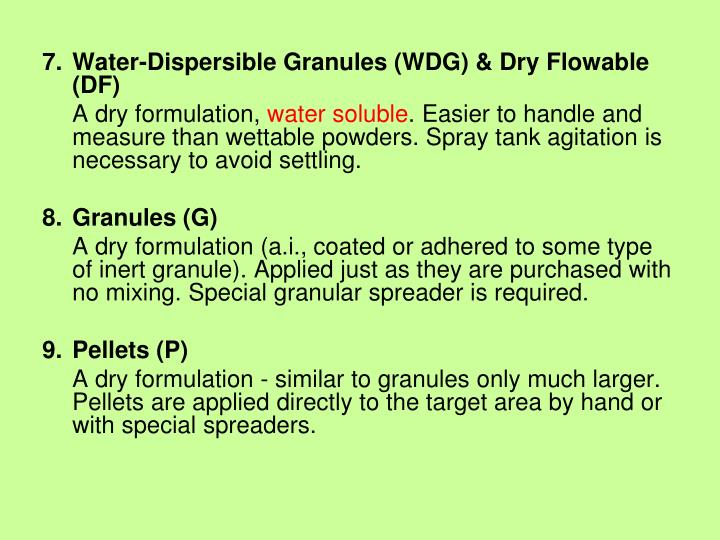 Water-Dispersible Granules (WDG) & Dry Flowable (DF)