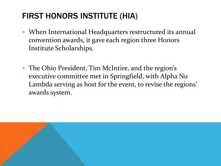 First Honors Institute (HIA)