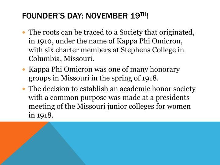 Founder's Day: November 19