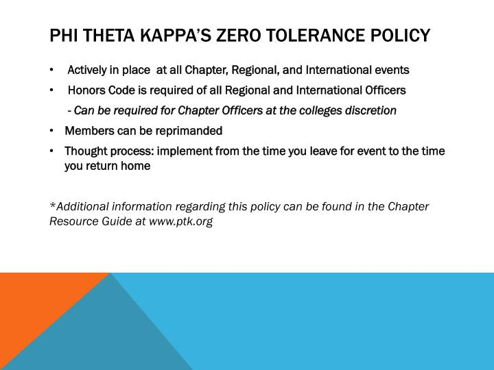 Phi Theta Kappa's zero tolerance policy