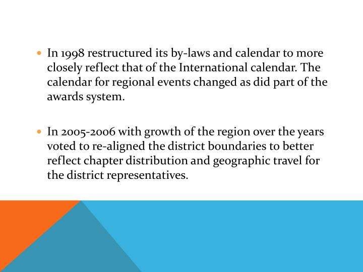 In 1998 restructured its by-laws and calendar to more closely reflect that of the International calendar. The calendar for regional events changed as did part of the awards system.