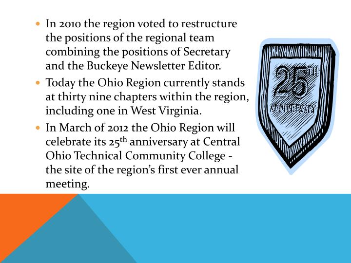 In 2010 the region voted to restructure the positions of the regional team combining the positions of Secretary and the Buckeye Newsletter Editor.