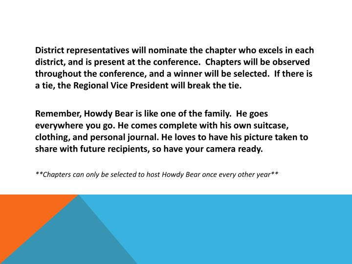 District representatives will nominate the chapter who excels in each district, and is present at the conference.  Chapters will be observed throughout the conference, and a winner will be selected.  If there is a tie, the Regional Vice President will break the tie.
