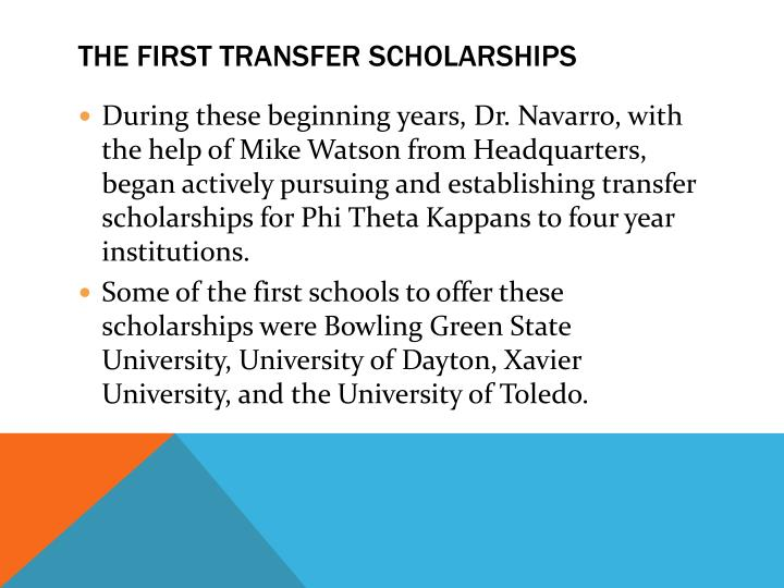 The First Transfer Scholarships