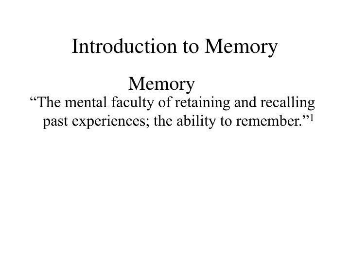 Introduction to Memory