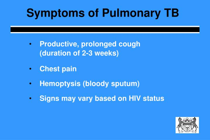 Symptoms of Pulmonary TB