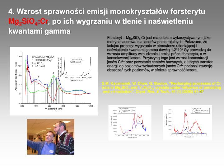4. Wzrost sprawności emisji monokryształów forsterytu