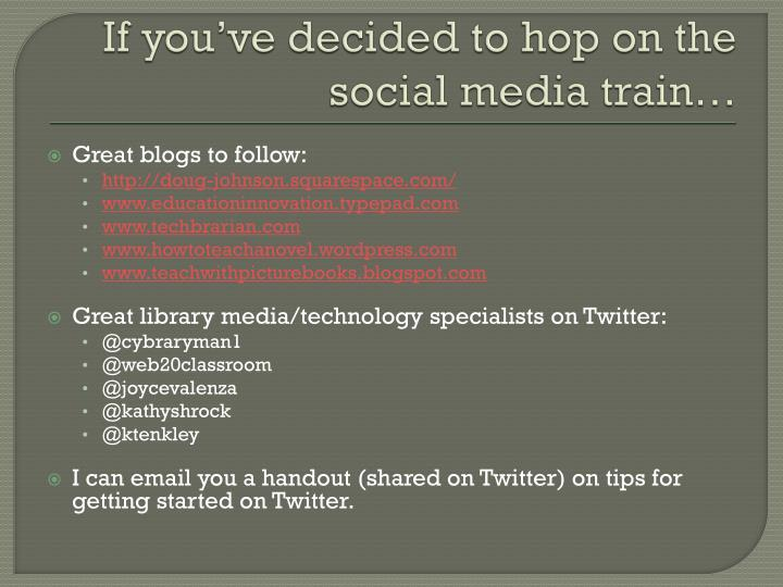 If you've decided to hop on the social media train…