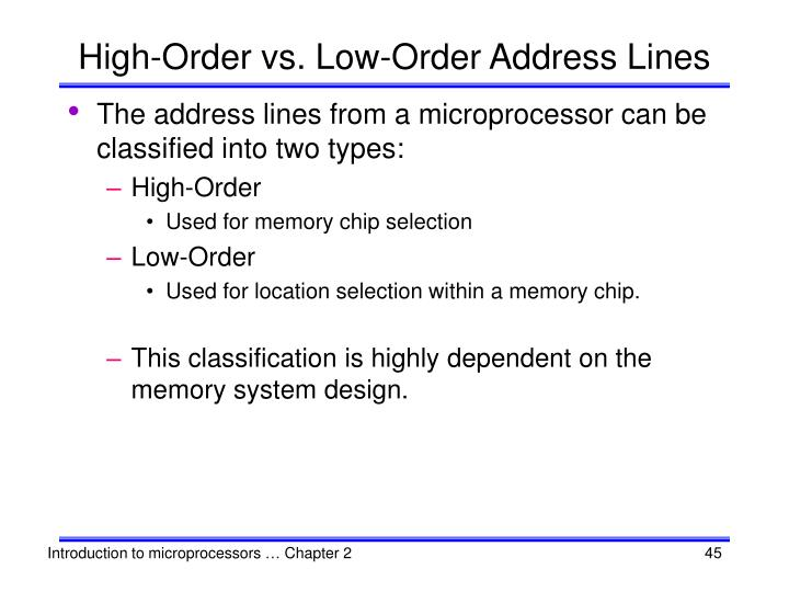 High-Order vs. Low-Order Address Lines