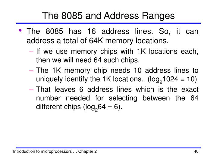 The 8085 and Address Ranges