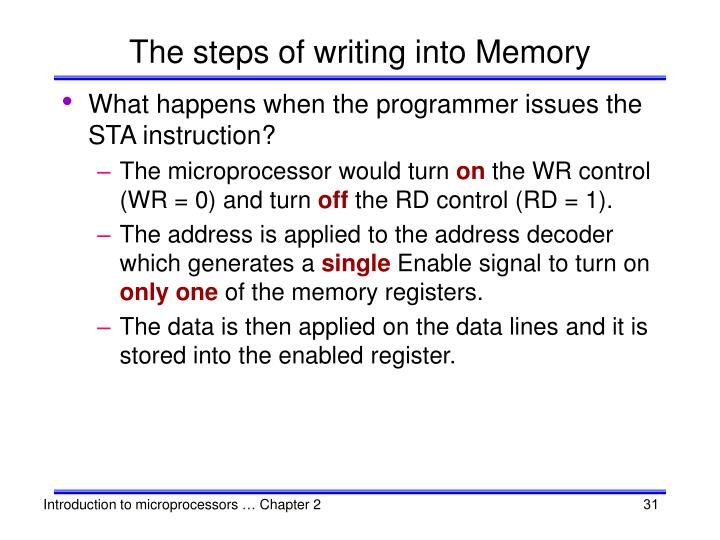 The steps of writing into Memory