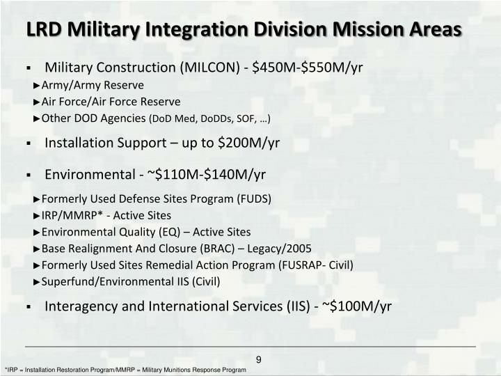 LRD Military Integration Division Mission Areas