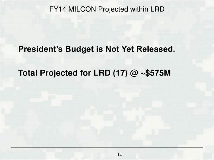 FY14 MILCON Projected within