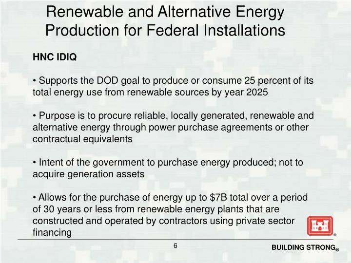 Renewable and Alternative Energy Production for Federal Installations