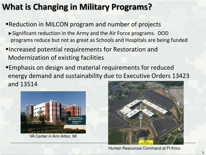 What is Changing in Military Programs?