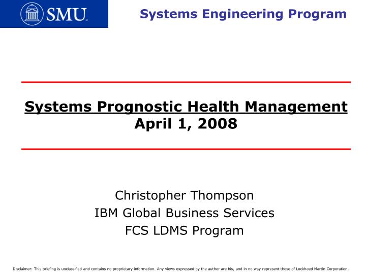 Systems prognostic health management april 1 2008