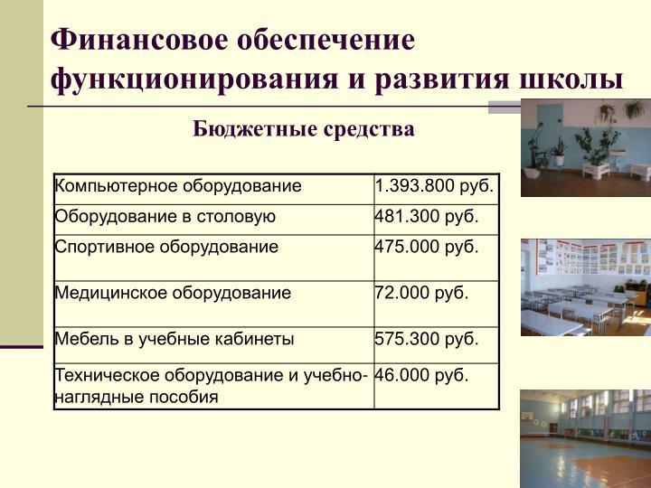 Финансовое обеспечение функционирования и развития школы