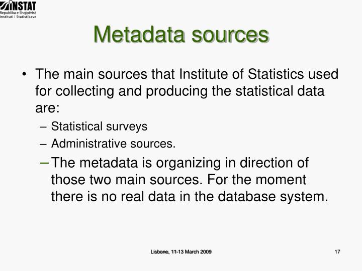 Metadata sources