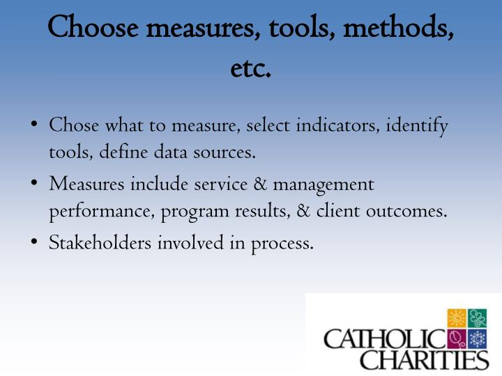 Choose measures, tools, methods, etc.