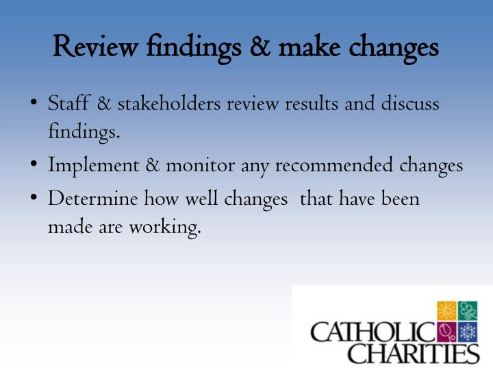 Review findings & make changes