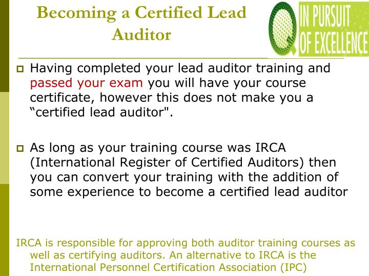Becoming a Certified Lead Auditor