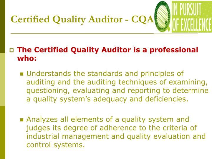 Certified Quality Auditor - CQA