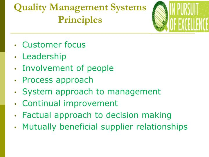 Quality Management Systems Principles