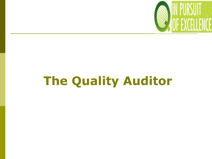 The Quality Auditor